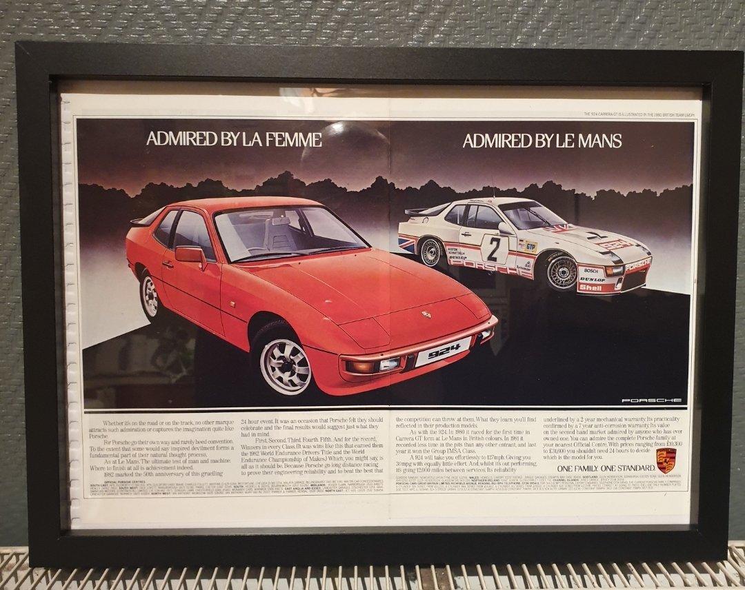 1983 Porsche 924 Framed Advert Original  For Sale (picture 1 of 2)