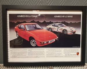 1983 Porsche 924 Framed Advert Original