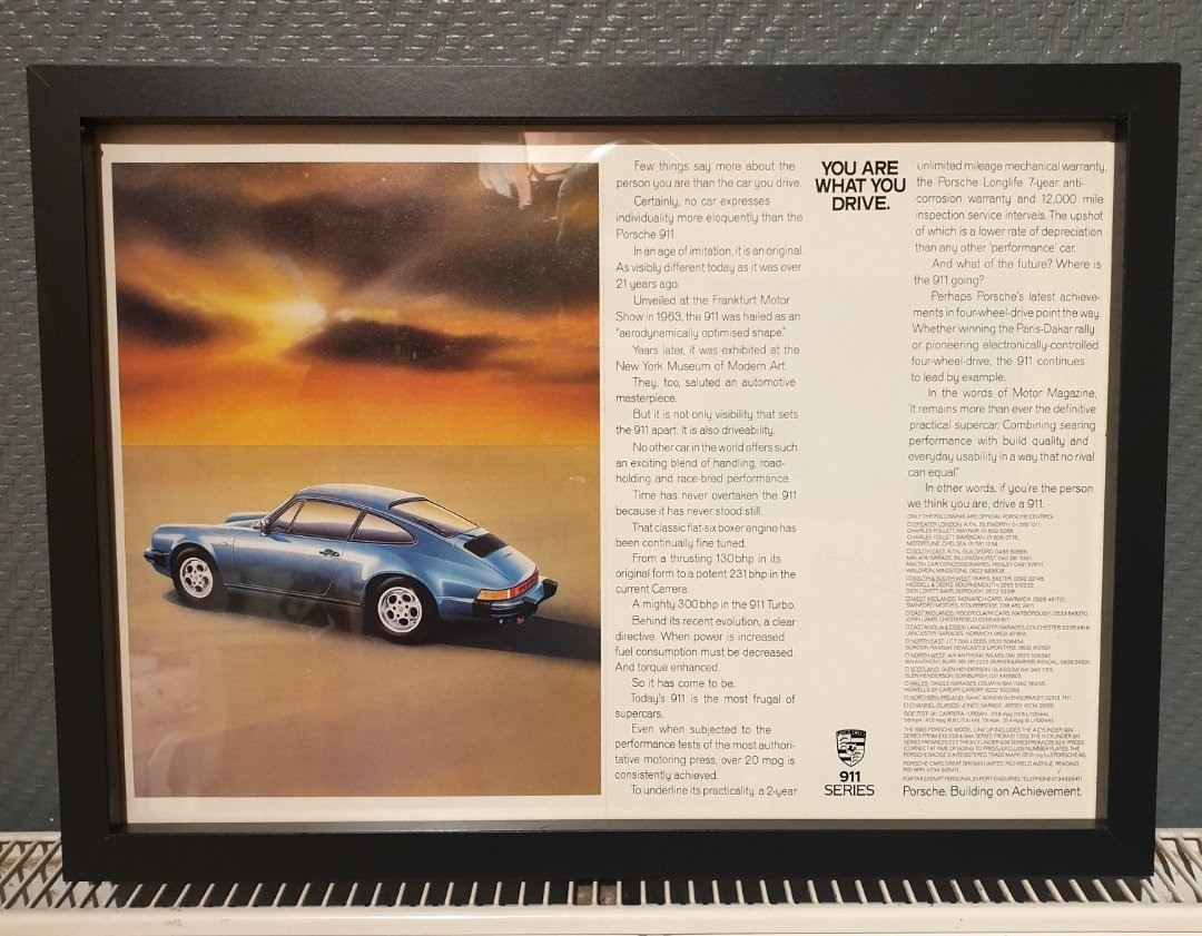 1985 Porsche 911 Framed Advert Original  For Sale (picture 1 of 2)