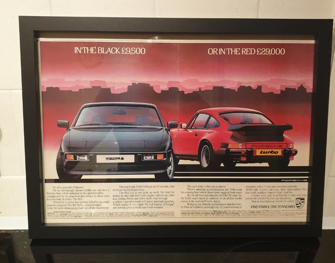 1983 Porsche Framed Advert Original  For Sale (picture 1 of 2)