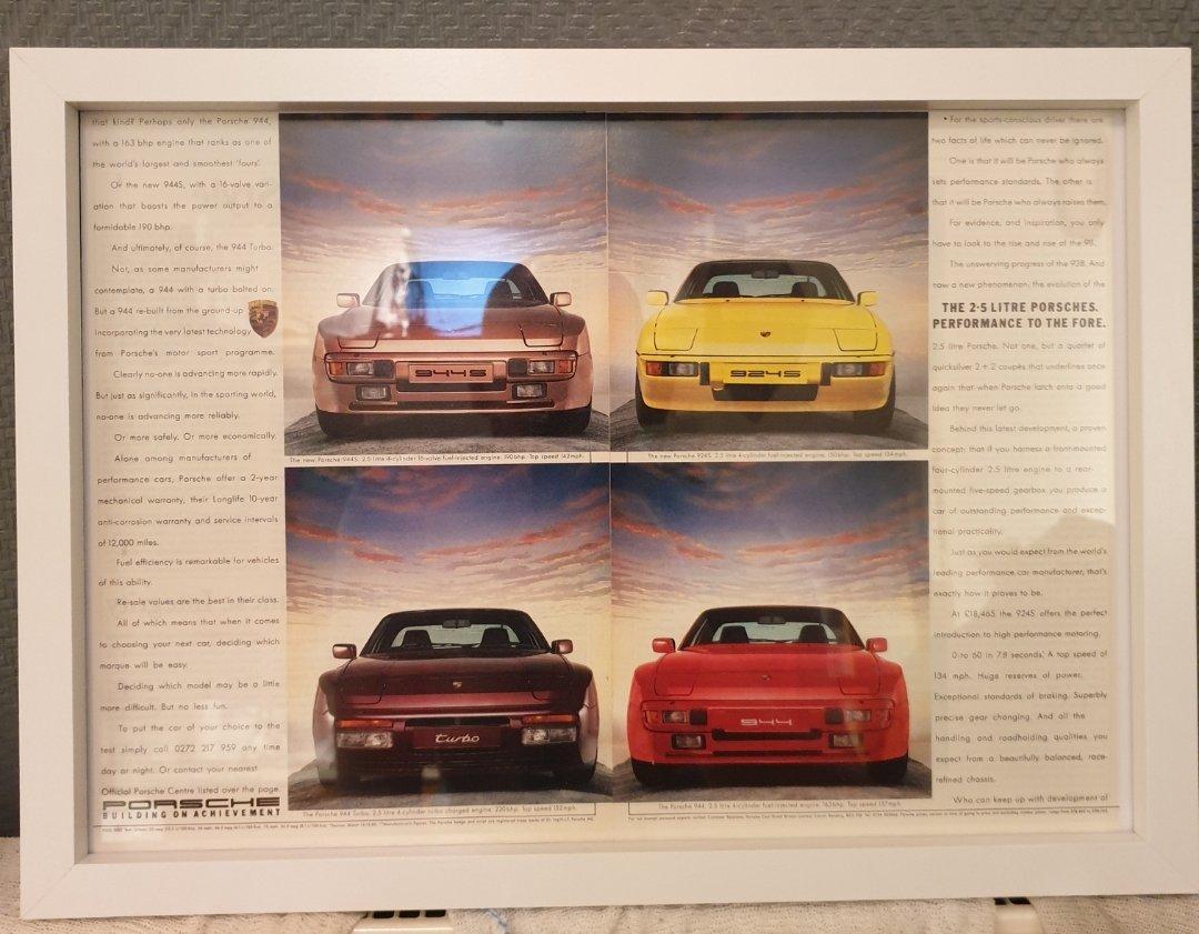 1987 Original Porsche Framed Advert For Sale (picture 1 of 3)
