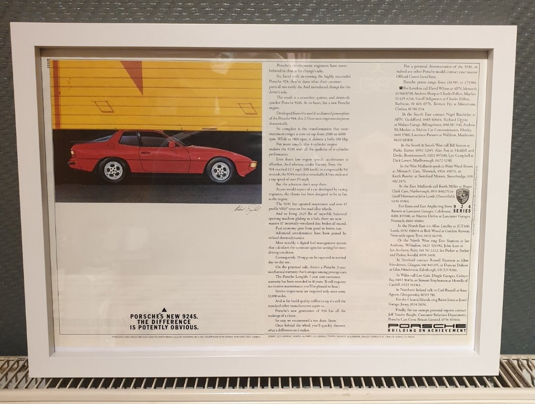 1985 Porsche 924 S Framed Advert Original  For Sale (picture 1 of 2)