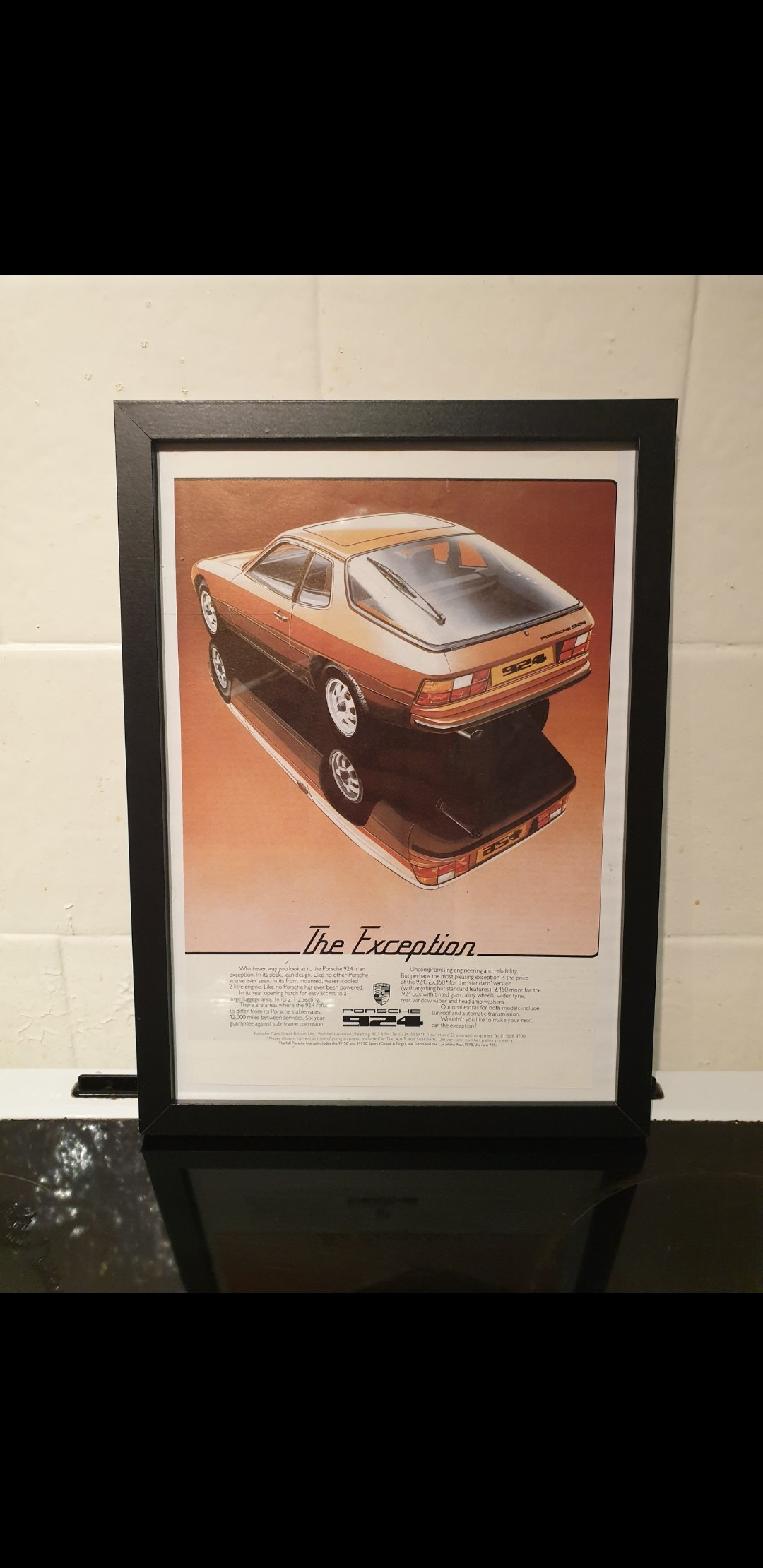 1978 Porsche 924 Framed Advert Original  For Sale (picture 1 of 2)