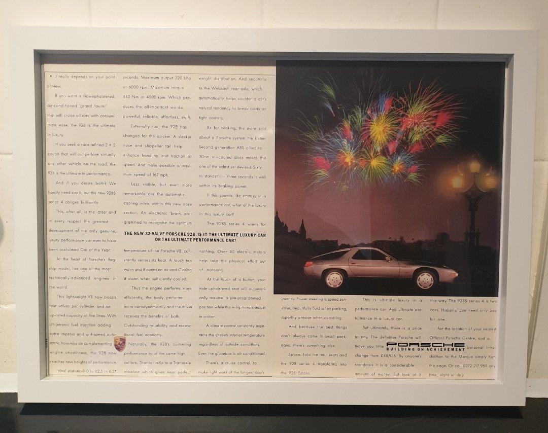 1987 Porsche 928 Framed Advert Original  For Sale (picture 1 of 2)