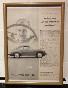 Porsche 356 Framed Advert Original