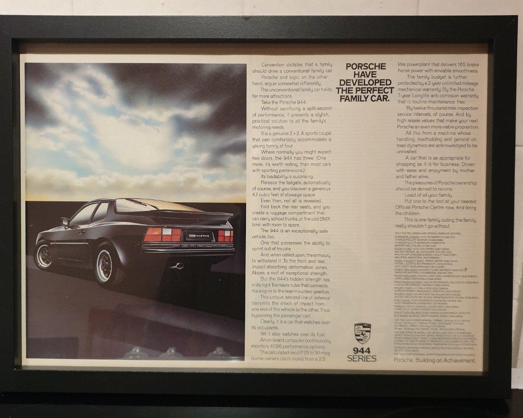 1985 Porsche 944 Framed Advert Original  For Sale (picture 1 of 2)