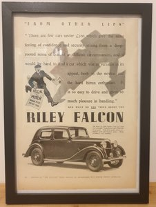 Picture of 1983 Original 1937 Riley Falcon Framed Advert