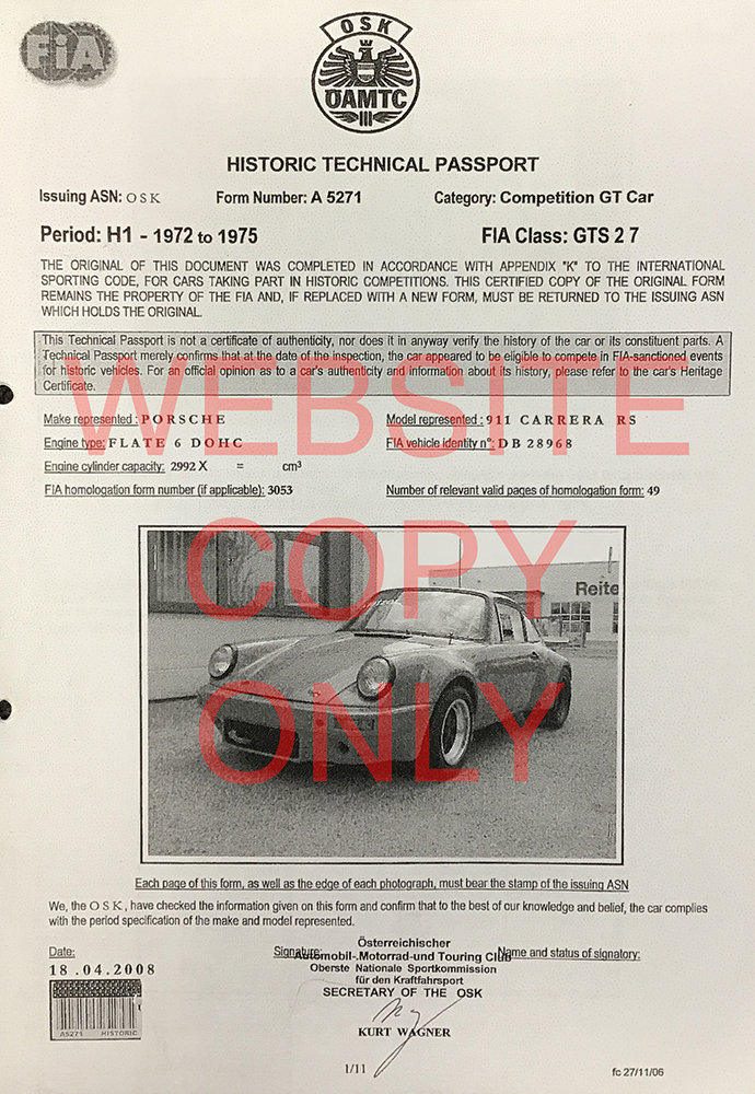 1974 RESERVED - Porsche 911 3.0 Group 4 Rally/Race (FIA) LHD For Sale (picture 3 of 6)