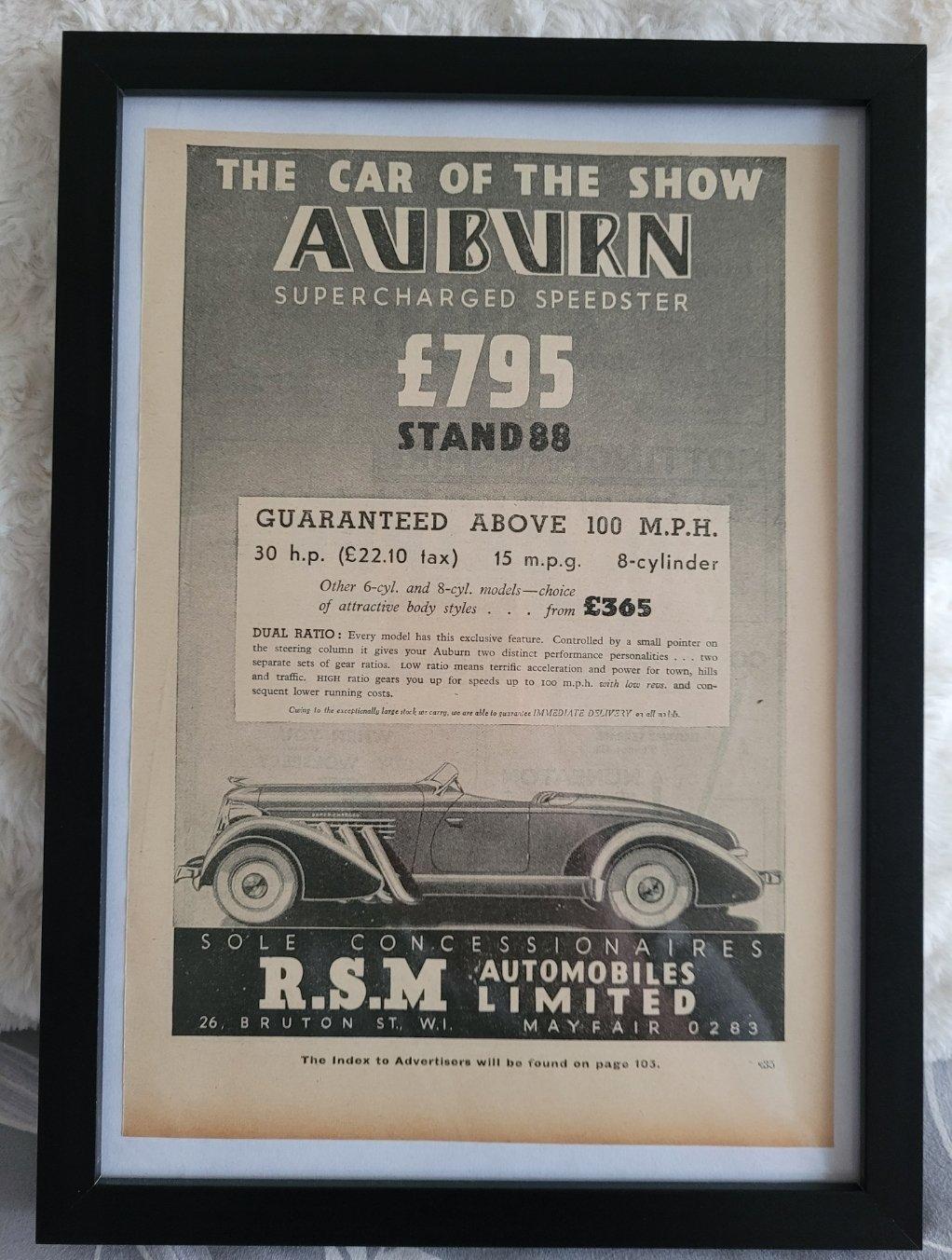 Original 1935 Auburn Framed Advert