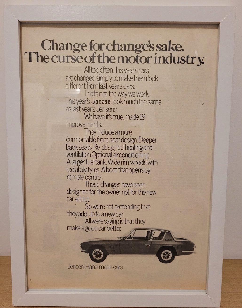 Original 1969 Jensen Interceptor Framed Advert