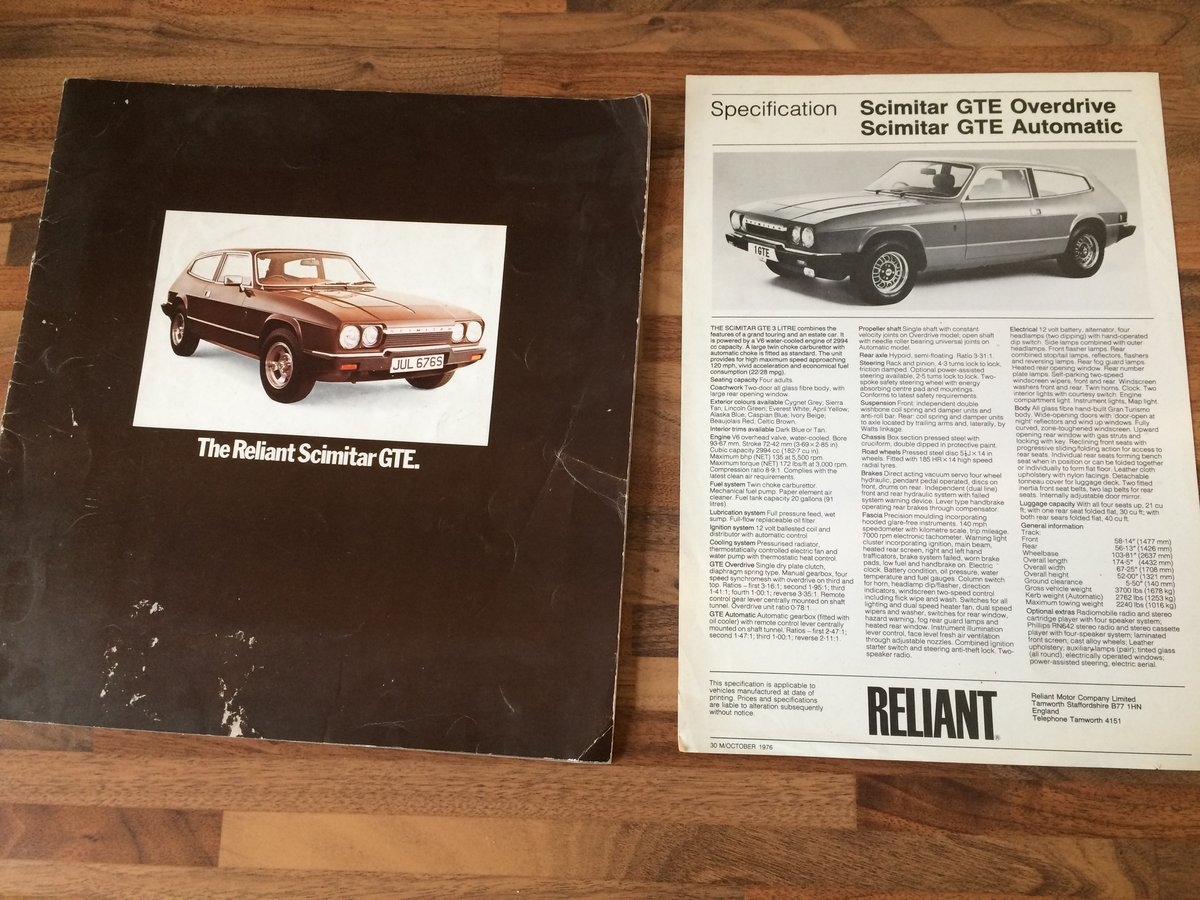 Reliant Scimitar brochure and spec sheet. For Sale (picture 1 of 6)