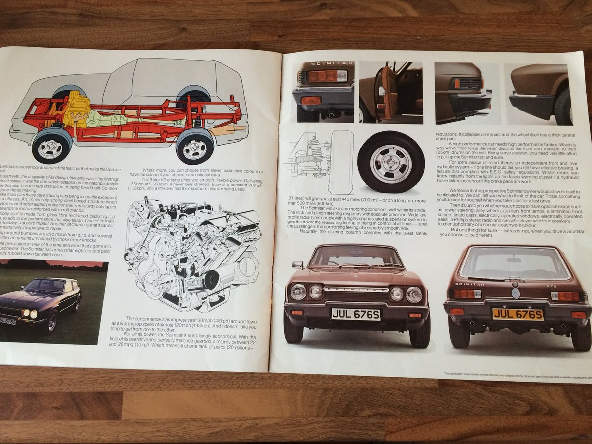 Reliant Scimitar brochure and spec sheet. For Sale (picture 6 of 6)
