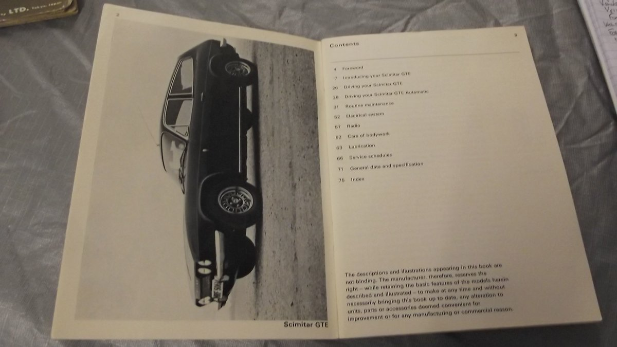 0000 RELIANT SCIMITAR WORKSHOP MANUAL AND OWNERS HANDBOOKS 4 SALE For Sale (picture 3 of 4)