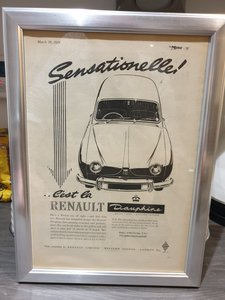 1958 Original  Renault Dauphine Framed Advert
