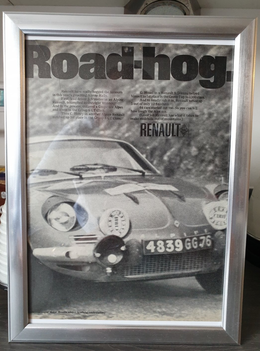 Original 1968 Alpine Renault advert For Sale (picture 1 of 2)