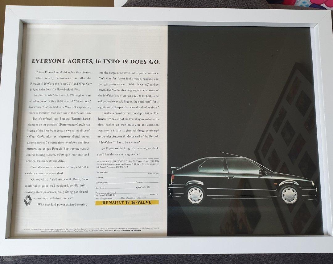 1991 Original Renault 19 Framed Advert For Sale (picture 1 of 2)