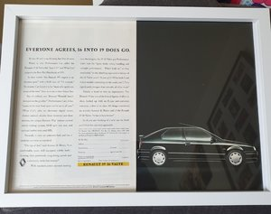 1991 Original Renault 19 Framed Advert For Sale