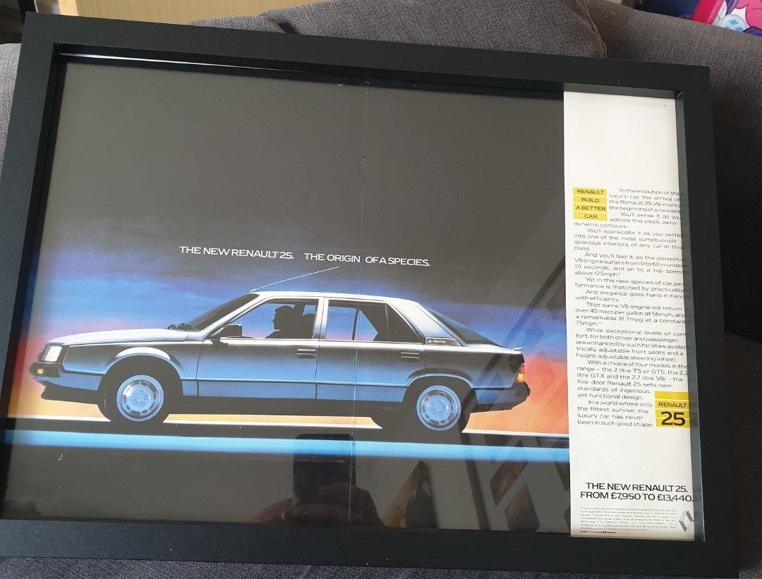 1984 Renault 25 Framed Advert Original  For Sale (picture 1 of 2)