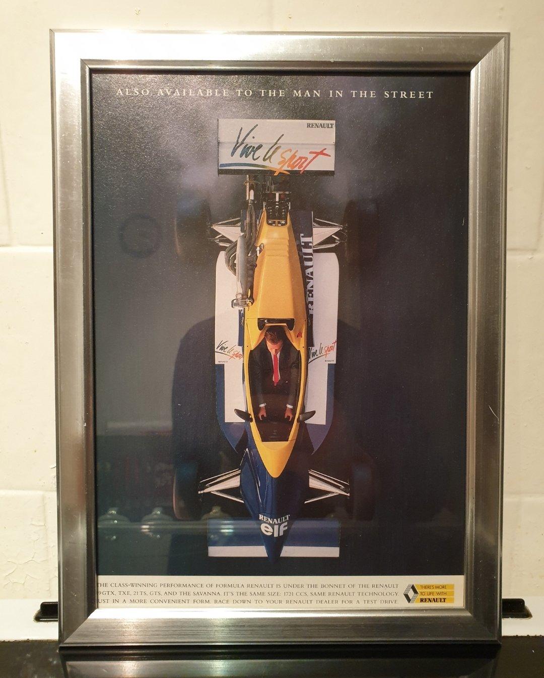 1990 Original Renault Framed Advert For Sale (picture 1 of 2)