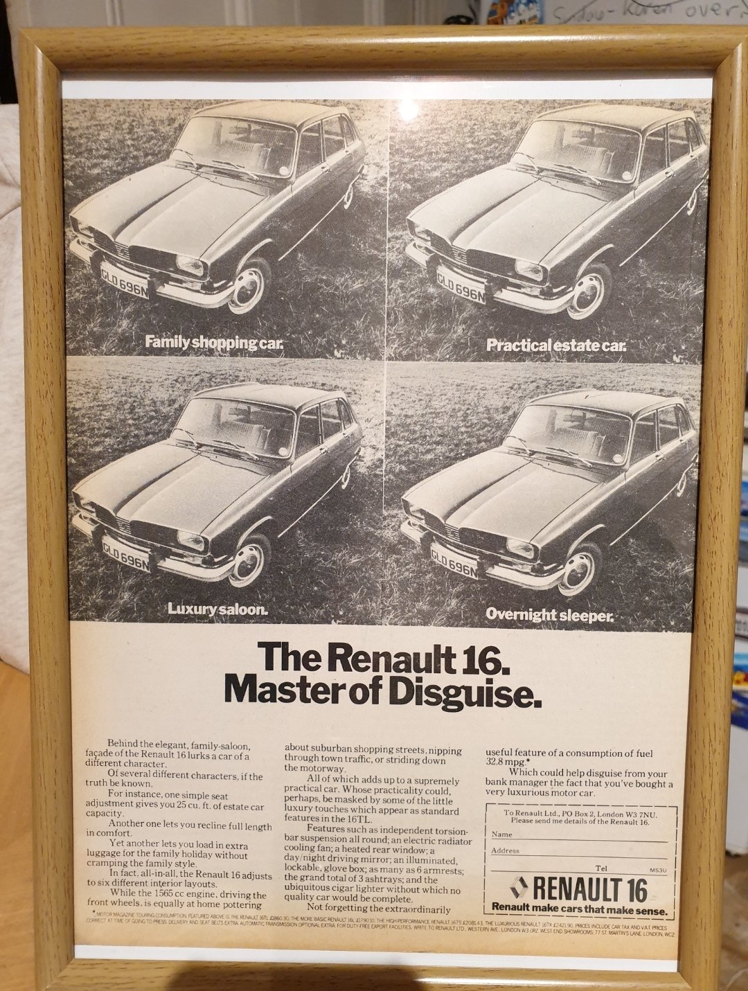 1975 Original Renault 16 Framed Advert For Sale (picture 1 of 2)