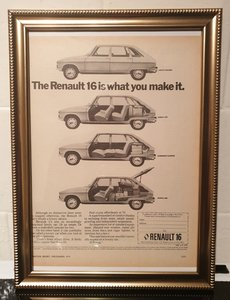 1974 Original Renault 16 Framed Advert