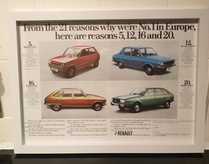 1977 Original Renault Framed Advert
