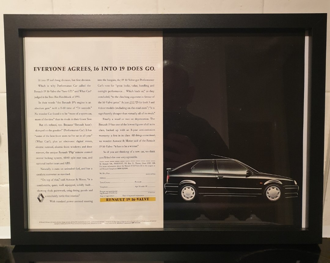 1991 Renault 19 Framed Advert Original  For Sale (picture 1 of 2)