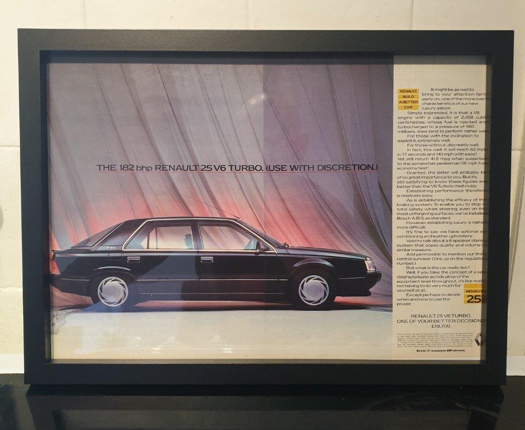 Renault 25 Framed Advert Original  For Sale (picture 1 of 2)