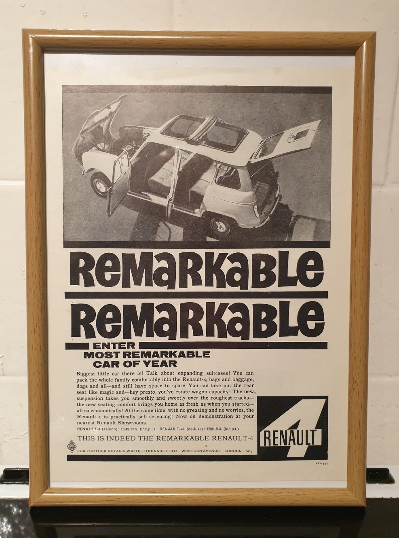 1962 Renault 4 Framed Advert Original  For Sale (picture 1 of 2)