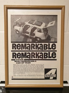 1962 Renault 4 Framed Advert Original