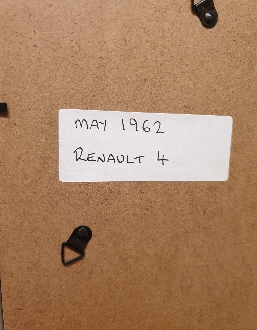 1962 Renault 4 Framed Advert Original  For Sale (picture 2 of 2)