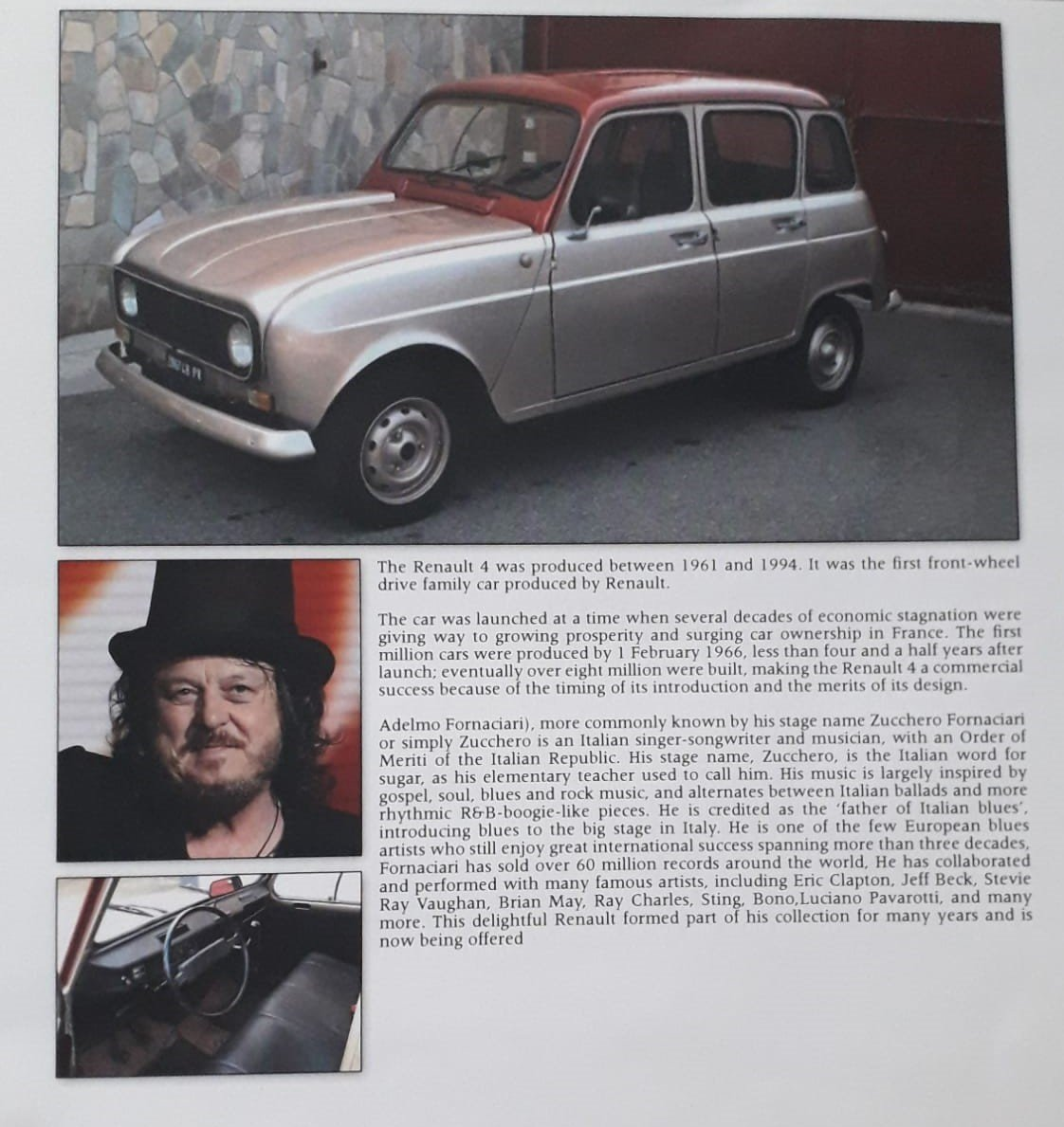 """1977 Renault R4 of famous singer """"Zucchero"""" For Sale (picture 1 of 5)"""