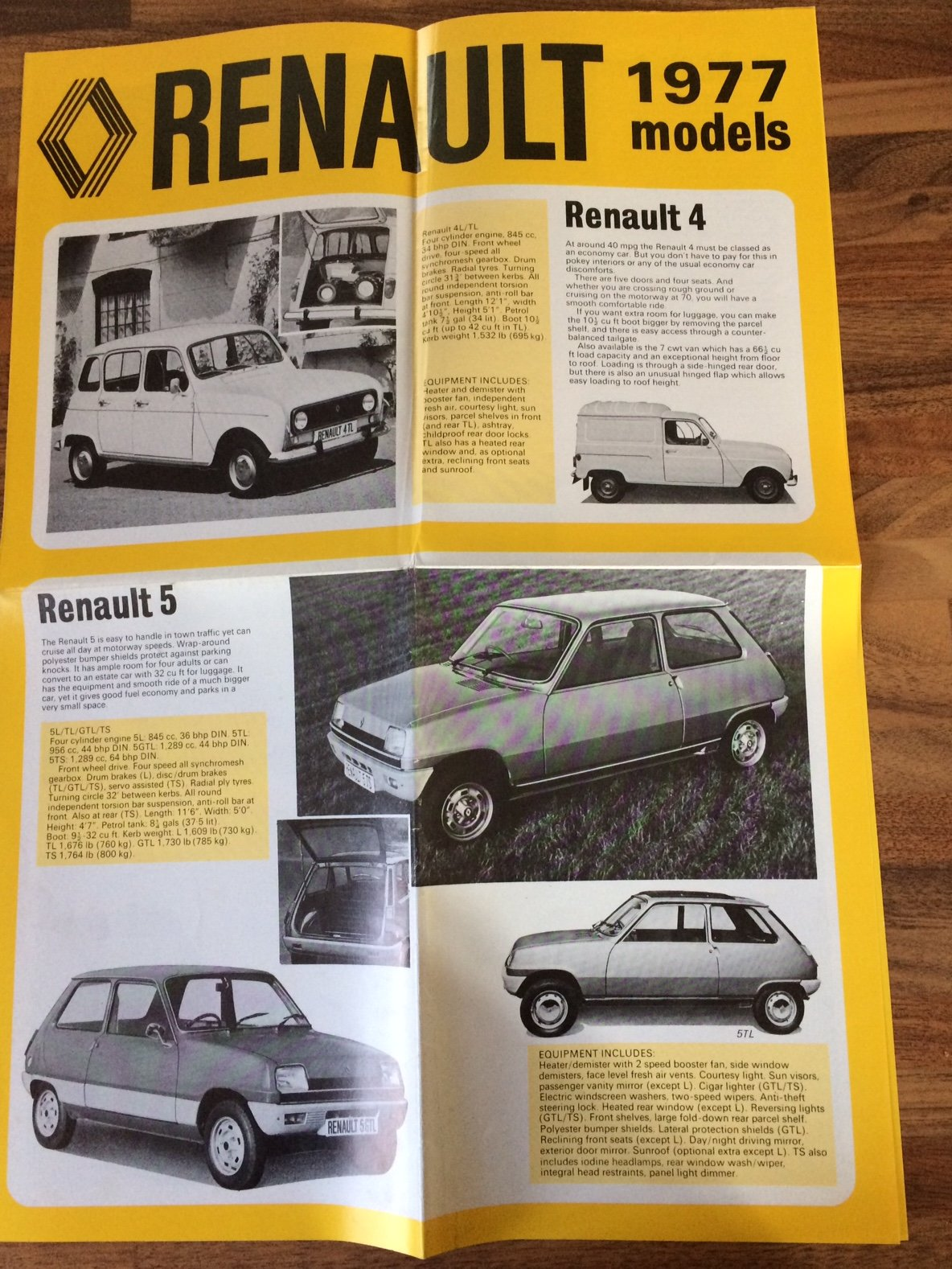 1977 Renault fold-out pamphlet For Sale (picture 1 of 3)