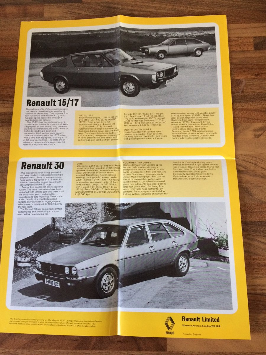 1977 Renault fold-out pamphlet For Sale (picture 3 of 3)