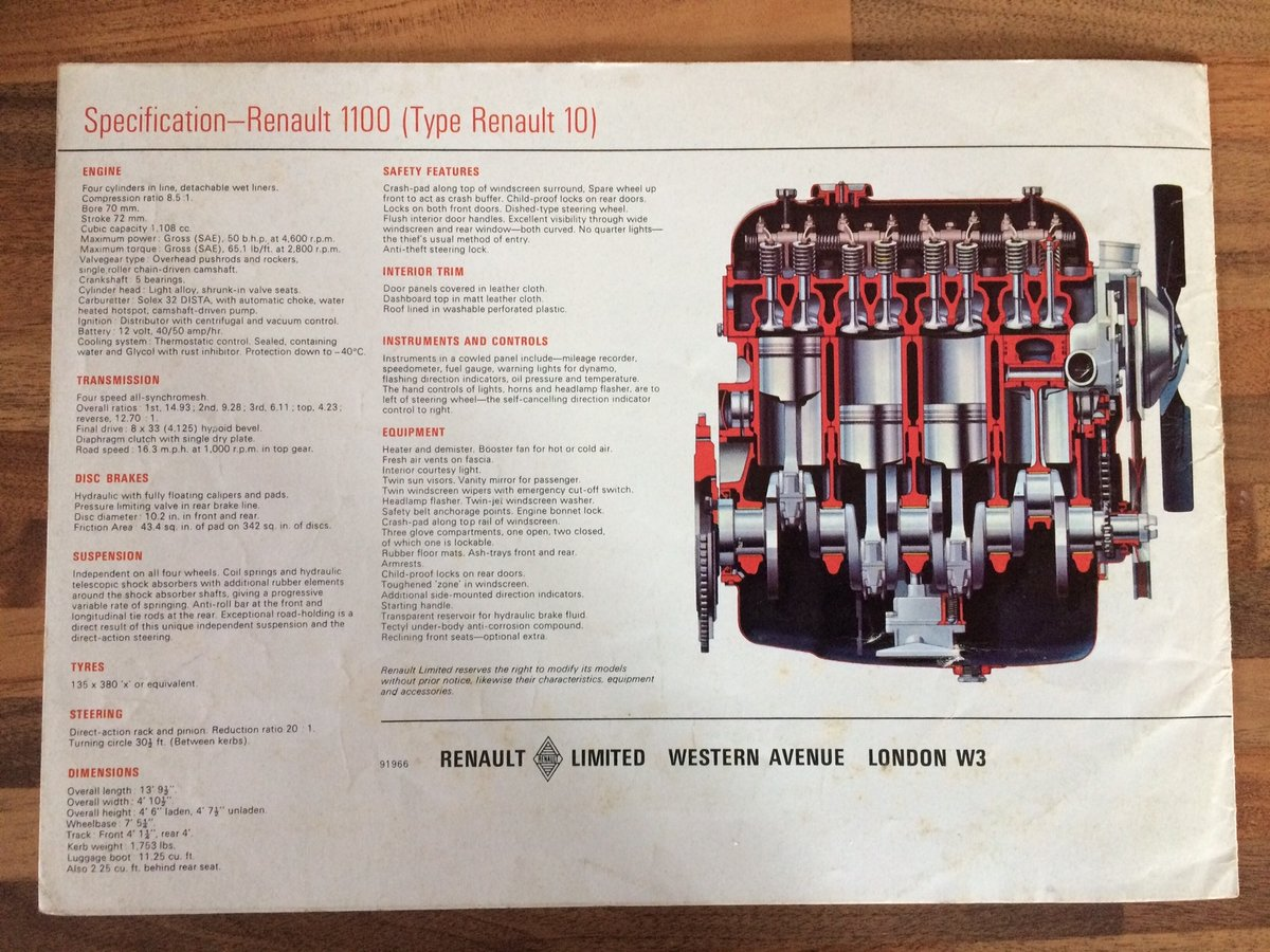 Renault 1100 R10 sales pamphlet For Sale (picture 3 of 3)