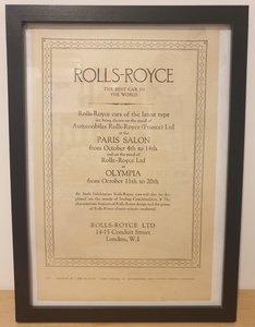 Picture of 1958 Original 1928 Rolls-Royce Framed Advert