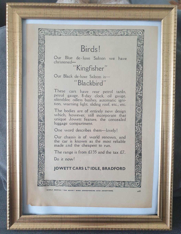 1977 Original 1931 Jowett Framed Advert For Sale (picture 1 of 3)