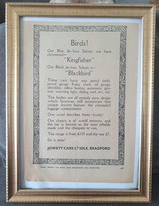 Original 1931 Jowett Framed Advert
