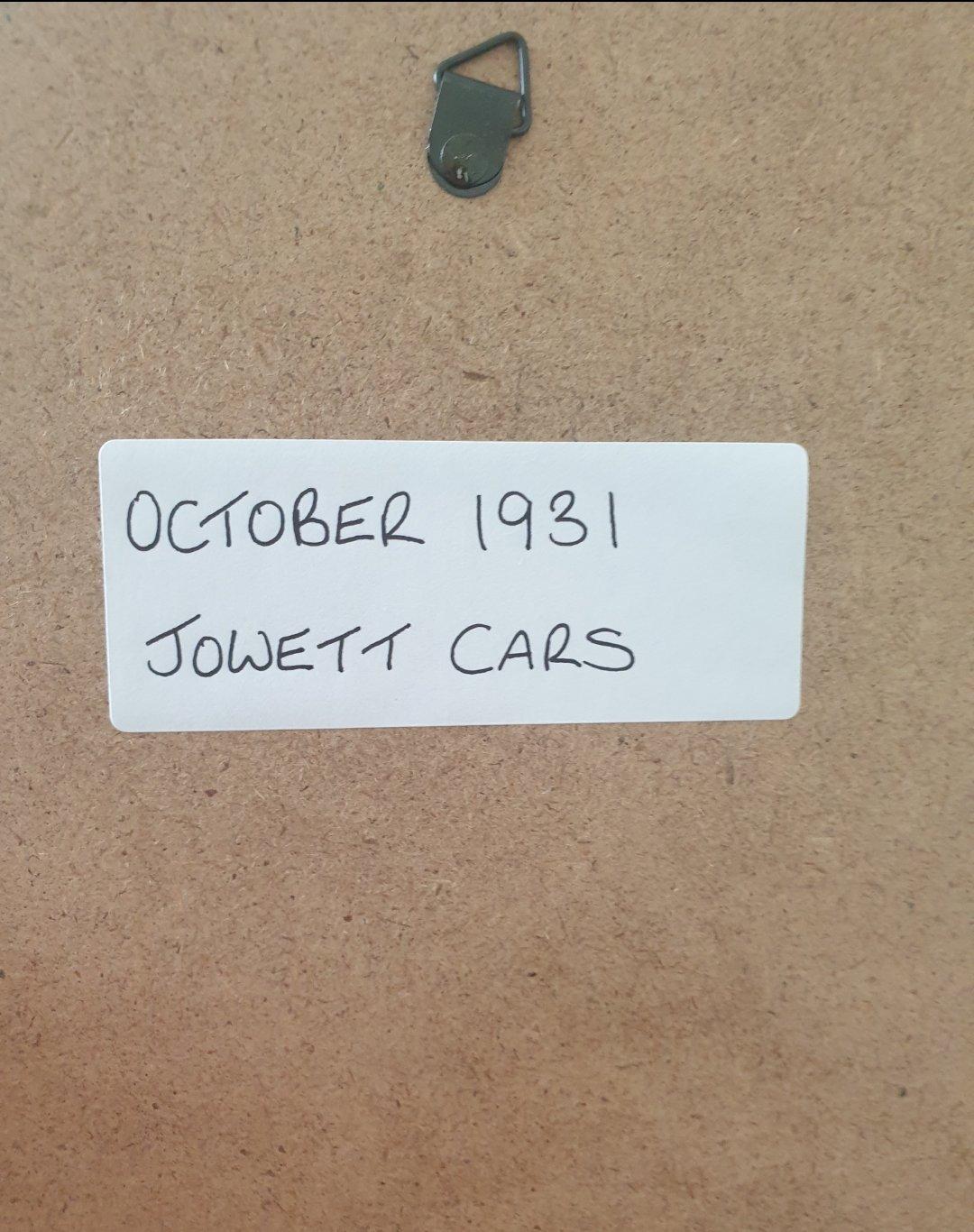 1977 Original 1931 Jowett Framed Advert For Sale (picture 2 of 3)