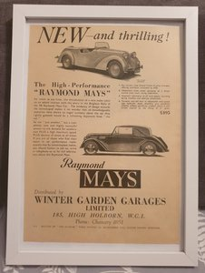 Original 1939 Raymond Mays Framed Advert