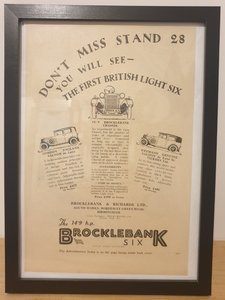 Picture of 1962 Original 1928 Brocklebank Six Framed Advert  For Sale