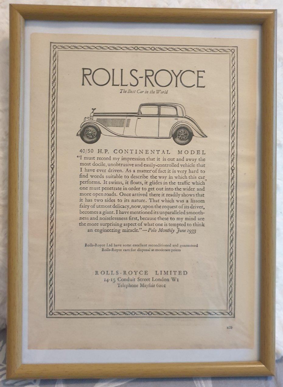 1966 Original 1933 Rolls-Royce Framed Advert  For Sale (picture 1 of 3)