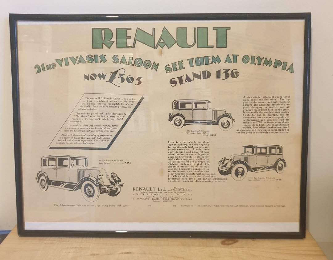 1990 Original 1928 Renault Framed Advert  For Sale (picture 1 of 3)
