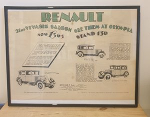 Original 1928 Renault Framed Advert
