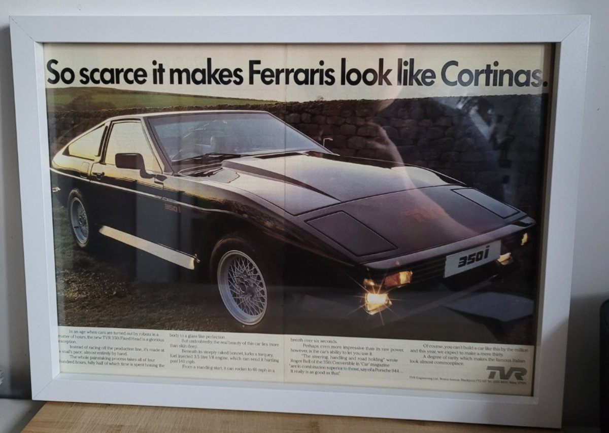 Original 1984 TVR 350i Framed Advert For Sale (picture 1 of 3)
