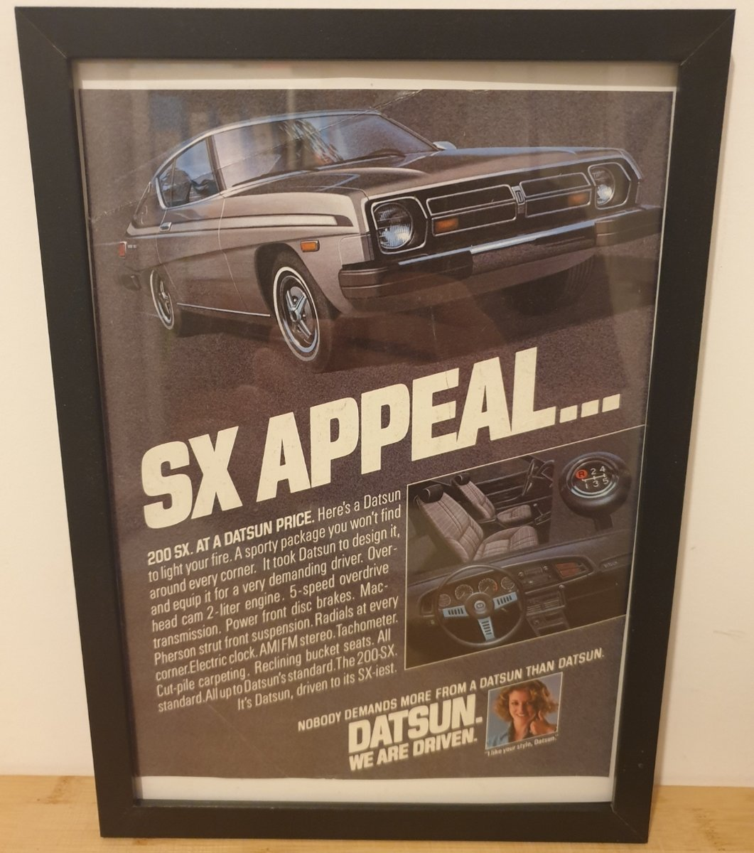 1962 Original 1978 Datsun 200SX Framed Advert For Sale (picture 1 of 3)