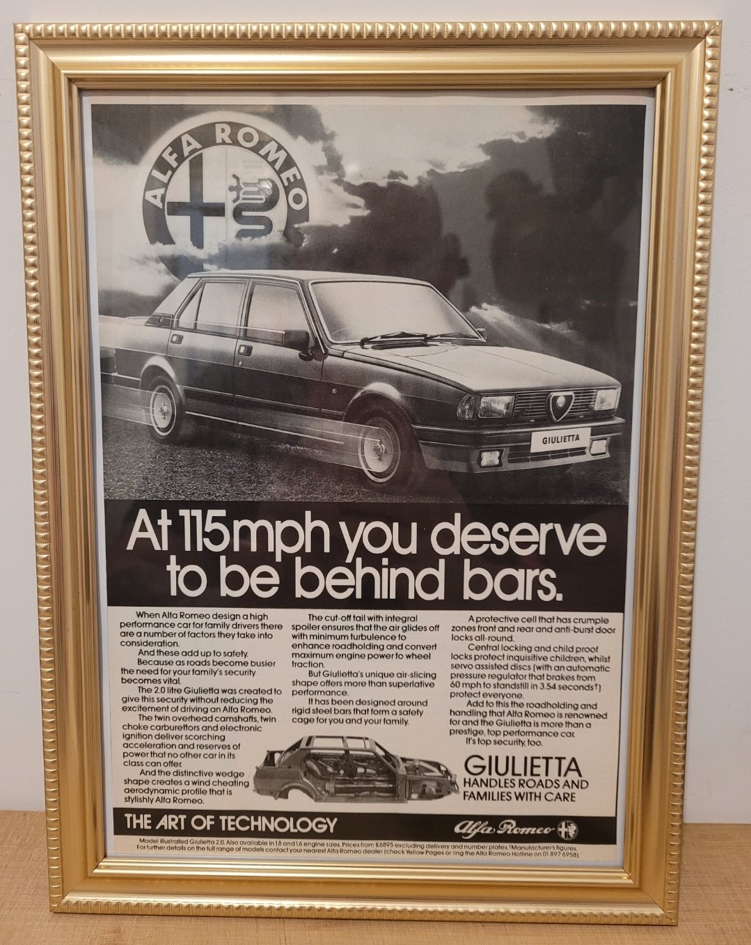 Picture of 1975 Original 1984 Alfa Romeo Giulietta Framed Advert For Sale