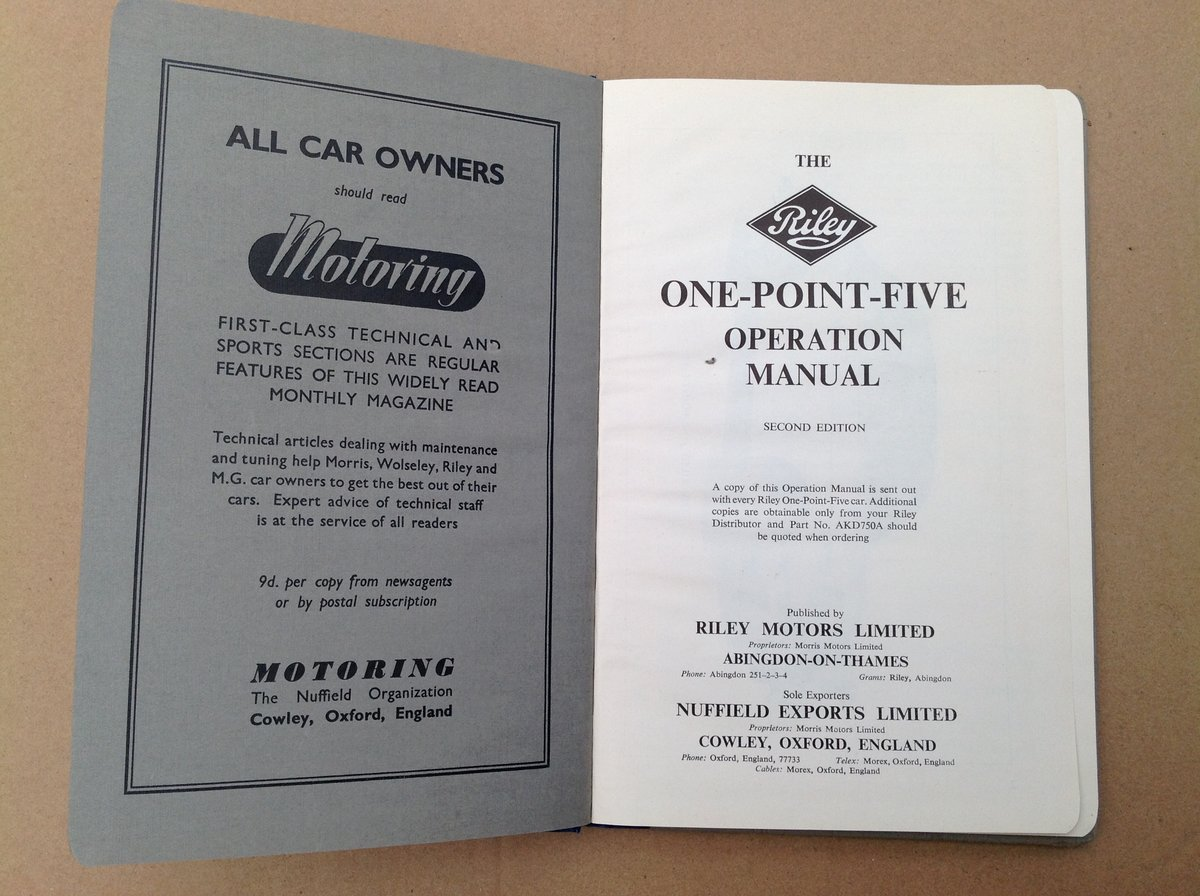 Riley One-Point-Five Handbook For Sale (picture 3 of 4)