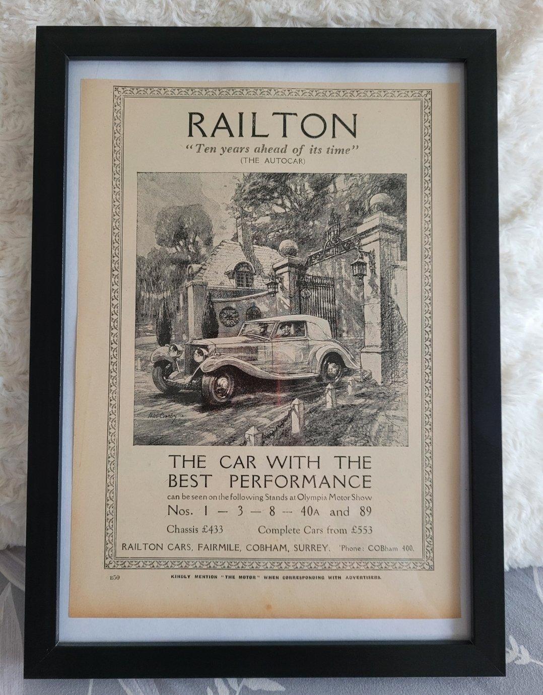 Original 1935 Railton Framed Advert