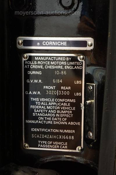 1987 ROLLS ROYCE Corniche II For Sale by Auction (picture 6 of 6)